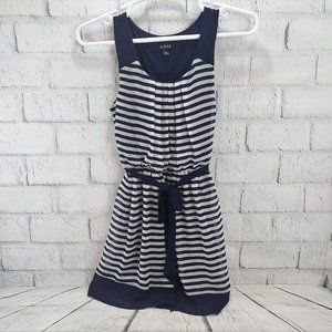 A Byer Womens Navy/White Striped Sheer Dress